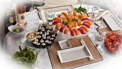 A table! (TablinumCarlson) Tags: sushi food essen knipser rose wein wine vino vinho fisch fish seafood tabelart garnelen lachs salmon leica m8 leicam 28mm summicron vignette maki nigiri tisch table dinner germany deutschland