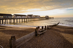 Pier sunrise (iaincsm) Tags: 20160910 beach beccles dawn daybreak glow groyne pier sand sea shingle southwold suffolk sunrise surf uk waves