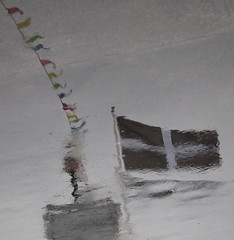 Flags rising left to right (lynn.pascoe) Tags: stpiran flags reflections whitecross puddles rain colouredflags cornish cornwall celebrating abstraction