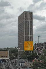 OPEN TO YOU AND EVERYONE YOU KNOW (Karol Kuchcinski) Tags: netherlands dutch heathland bike church antwerp weert roads town skyscrapper rainy building sentences poster city center think