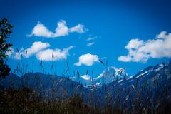 Blue skies, big mountains.