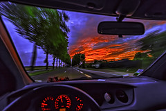 Early morning rolling (PokemonaDeChroma) Tags: motion car rwilight onthemove road national10 france speed