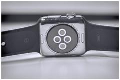 """Bottoms Up!"" -Macro Mondays- bottom of Apple Watch (Karon Elliott Edleson) Tags: macromondays mm bottomsup bottom macro blackandwhitephotography bw watch apple black white minimalistic"