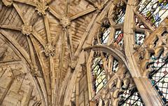Cathedral Detail. (curly42) Tags: gloucestercathedral roof stainedglasswindow entrance gloucester cathedral arches stonework
