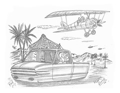 Water Bomb (rod1691) Tags: bw scifi grey concept custom car retro space hotrod drawing pencil h2 hb original story fantasy funny tale automotive art illistration greyscale moonpies sketch