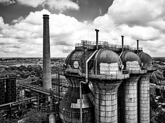 Cowper stoves - steelworks (Duisburg-Meiderich, Germany) (Jens Flachmann) Tags: steelworks steelmill furnace blastfurnace iron industry industrial architecture architectural blackandwhite blackwhite duisburg germany steel cowperstove cowperstoves tower towers