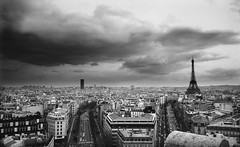 Paris (emmajmartin) Tags: travel capitalcities black cityscape day column sky france consumerproduct numberofpeople outdoors centraleurope aerialview horizontal elevatedview business cloud landscape blackandwhite capital vacations city white paris iledefrance nopeople photovolumes photography nonurbanscene 1gettymarketingterm 57446823jpg cd145