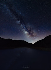 Galaxy Lake (Alex Apostolopoulos) Tags: dam galaxy lake longexposure milkyway reflection stars water sky nightphotography night cyprus sony sonya6000 ilce6000 samyang samyang12mmf20ncscs manfrottobefree