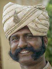 Jovial Sikh (maios) Tags: jaipur india jovialsikh jovial sikh olympus e400 man hotel maios hindu mustache sideburns hat turban souriant smile eyes