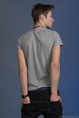 Max (PhotoMechanic.uk) Tags: male man guy dude youth model pose photoshoot studio ripped jeans tshirt back stand standing