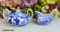 Royal Crown Derby Porcelain Sugar & Creamer ~ Blue Mikado ~ Cobalt White ~ Gold (Donna's Collectables) Tags: royal crown derby porcelain sugar creamer ~ blue mikado cobalt white gold