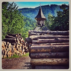 """Back in '99 we were cutting pine And sending it down the stream"" (Sandy Gray) #logg #logger #timber #pine #xq1 #fujixq1 #church #mountains"