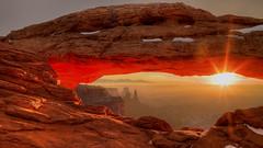 Mesa Arch Sunrise (敏行王) Tags: arch canyonlands landscapes mesaarch red rock snow sun sunrise tonyshi utah morning xiaoying