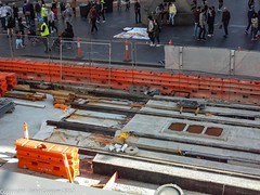 CBD & South East Light Rail - APS installation at the Corner of George and Park Streets  - 24 June 2017 - 4 (john cowper) Tags: cselr sydneylightrail aps ingoundpowersupply georgestreet parkstreet queenvictoriabuilding qvb tracks acconia alstom transportfornsw sydney newsouthwales