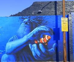 Tucson Mural (galiuros) Tags: tucson tucsonarizona mural downtown 191toole deepblue underwater skyblue fish