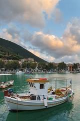 Vasiliki harbor - Greece (massonth) Tags: ganon g7x harbor port boad ship wood sea landscape water sky sunset montains