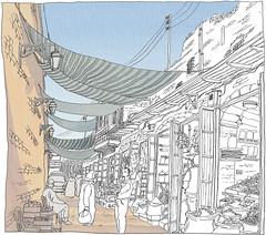 Syria, Aleppo, souq (bazaar) (pirlouit72) Tags: syria syrie alep aleppo sketch drawing dessin croquis urbansketch urbansketcher urbansketchers carnetdevoyage