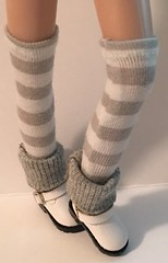 Gray And White Striped Tall Socks...For Blythe...