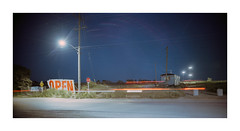 Open Season (Baipin) Tags: linhof camera field 4x5 6x12 panoramic pano wide aesthetic super mamiya 90mm f35 press universal mam light kodak photo portra 400 led open car lines green teal blue night nacht urban ontario topographic our landscape concrete asphalt human residue action self us canada 120love 120 analog film