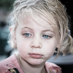 Portrait Of A Little Thinking Girl (Mark van Oirschot) Tags: girl little young eyes blue color chrome square portrait close closeup dark nose mouth cute serious thinking dreaming touching daydreaming