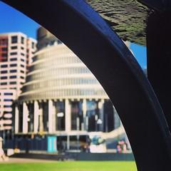 Through the gate #parliamentbuildings #thebeehive #wellington #coolestlittlecapital #newzealand (laineymd) Tags: parliamentbuildings thebeehive wellington coolestlittlecapital newzealand