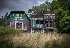 Haunted House (donnieking1811) Tags: kentucky cavecity hauntedhouse building art abandoned abandonedbuilding face exterior outdoors trees sky clouds hdr canon 60d lightroom photomatixpro