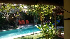 Private Seminyak villa garden, Bali (scinta1) Tags: indonesia bali seminyak villa garden pool green peaceful tranquil restful tropical trees palms leaves flowers bohemian private plants water relaxing shadows shade orange chairs seats