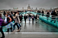 Millennium Bridge on a Grey Day - London (briburt) Tags: london bridge milleniumbridge people streetphotography vanishingpoint cathedral stpauls saintpauls stpaulscathedral street pedestrians motion walkers thames riverthames river evening gloaming movement