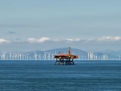 Wind Farms and Gas Platform (Craig Hannah) Tags: windfarm green morecambebay blackpool lakedistrict landscape gas platform rig offshore clouds calm craighannah july 2017 england