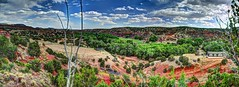 Jemez River Valley (JoelDeluxe) Tags: jemez mountains cochiti canyon newmexico panorama landscape burned area trees skies rocks green riparian nm hdr joeldeluxe