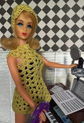"""TAG Game: """"A Little Wiggle In Her Walk"""": Best Wiggle Dresses (Foxy Belle) Tags: mod barbie vintage marlo flip blonde crochet dress music diorama 16 scale audition key board girls activity yellow vlack hat handknit doll mattel 1960s minidress wiggle tag game tnt twist turn"""