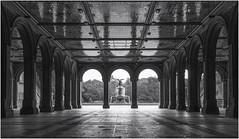 Bethesda Terrace & Fountain (LoneWolfA7ii) Tags: terrace bw blackandwhite monochrome mono fountain water architecture arch new york nyc central park bethesda sony a7ii usa