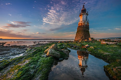 On the mend.....Plovar Scar Lighthouse (Einir Wyn Leigh) Tags: lancashire landscape seascape sunset lighthouse history reflections rockpool clouds colorful sunlight blue horizon coast sea water green rocks construction uk england