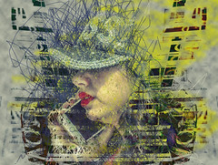 Women and their Cell Phones I (Paul B0udreau) Tags: canada ontario niagara paulboudreauphotography nikon nikond5100 photoshop people street nikkor70300mm berlin germany trainstation cellphone scribbleart baseballhat lips