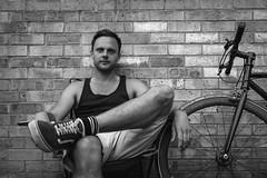 East London. July 2017. (NVOXVII) Tags: london portrait bnw impromptu bricks urban bike story people canon eos m10 summer heatwave friends life blackandwhite