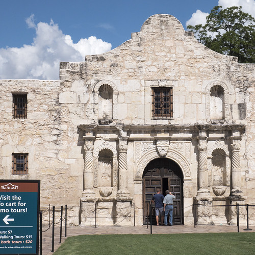 Visitors Entering The Alamo