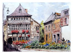 Lamballe - Bretagne - France (guymoll) Tags: france croquis bretagne aquarelle watercolour watercolor colombages timbered village lamballe