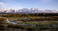 good morning (laura's POV) Tags: sunrise morning newday mountains mountain range tetons rockymountains spring landscape gtnp grandtetonnationalpark nationalpark jacksonhole wyoming west western unitedstates northamerica stream creek river quiet peace peaceful pines lauraspov lauraspointofview