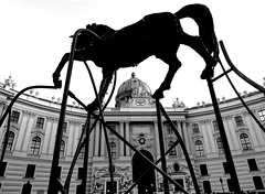 sculpture (christikren) Tags: michaelerplatz wien vienna christikren ross pferd horse blackwhite blackandwhite andjepietrzyk sculpture skulptur kunst art image standbild monochrome silhouette perspektive perspective bronze city history building schwarzweiss bw hofburg michaelertor