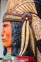 Native American statue (pattyg24) Tags: mercer nativeamerican wampumshop wisconsin statue woodcarving