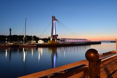 Deck and bright blue (navarrodave80) Tags: canal blue deck pylon night slow shutterspeed ustka poland nikon d3300 davechmiel chmiel longexposure