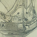 MONET Claude,1868 - Deux Barques de Pêche, Voiles tombées, amarrées à un Quai (drawing, dessin, disegno-Louvre RF11998-Recto) - Detail 24