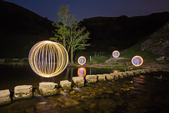 Stepping Stone Orbs (Tom Patterson) Tags: dovedale steppingstones peakdistrict derbyshire peaks reflection led spinning nightphotography lightpainting steelwoolspinning orbs orb globe globes longexposure longexpo england uk greatbritain unitedkingdom gb lights light night