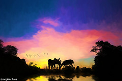 Nature (gusdiaz) Tags: photoshop photomanipulation composite colorful lake river water reflection summer vacation deers foliage trees amanecer atardecer lago rio reflejos venados hermoso beautiful digital art arte artistico colorido