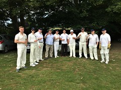 (most of) the Society's team: Ollie Redmond, Ed Hamill, Charles Miller, Nick Utechin (umpire), Peter Horrocks, Ben Levinson, Ray Laflin, Greg Gilliver, John Poxon, Andrew Levinson