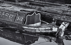 In need of repair (Tim Ravenscroft) Tags: canal boat derelict ellesmereport england hasselblad hasselbladx1d x1d monochrome blackandwhite blackandwhitephoto blackwhite