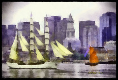 Sail Boston - Tall Ships (Leo Bar) Tags: painting artwork art watercolor aquarell boston tallships sail parade colors pixinmotion leobar awardtree netartii