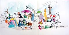 La Rochelle, ce matin au vide-grenier du quartier St Eloi (Joëlle B.) Tags: larochelle croquis aquarelle