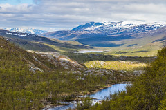 Sunny valley (Arttu Uusitalo) Tags: lapland norge norway helligskogen troms county river valley clouds sky mountain fell snow summer midsummer canon eos 5d mkiv 24105 landscape europe storfjord