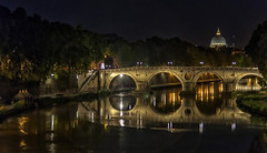 Roma by night (Fil.ippo (away)) Tags: roma rome night notturno nightscape water acqua tevere tiber ponte bridge sanpietro stpeters filippo filippobianchi d610 nikon italy church chiesa dome cupola